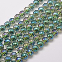"""NBEADS Electroplated Synthetic Quartz Bead Strands, Round, Full Rainbow Plated, SeaGreen, 8mm, Hole: 1mm; about 50pcs/strand, 15.7"""""""