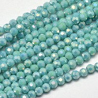 Faceted Round Full Rainbow Plated Electroplate Glass Beads Strands, Turquoise, 4mm, Hole: 1mm; about 100pcs/strand, 14.9""