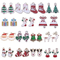SUNNYCLUE Alloy Enamel Pendants/Charms, Christmas Theme, Mixed Shapes, Mixed Color, 7.4x7.2x1.7cm; 30pcs/box