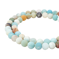 PandaHall Elite 8mm Frosted Natural Amazonite Bead Strands Round Loose Beads Approxi 15 inch 47pcs 1 Strand for Jewelry Making