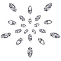 Arricraft 200 pcs 4 Sizes Sew on Horse Eye Faceted Glass Rhinestone Flatback with Brass Findings 4-Hole Bead Charm for Clothing Dress Decoration, Clear