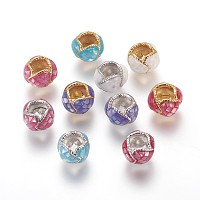 Brass European Beads, Large Hole Beads, with Enamel and Freshwater Shell, Round, Mixed Color, 11x7.5mm, Hole: 5x5mm