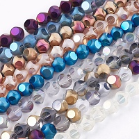 """Electroplate Glass Beads Strands, Frosted, Faceted, Round, Mixed Color, 10mm, Hole: 1mm; about 35pcs/strand, 13.1"""""""