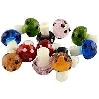 ARRICRAFT 100pcs Mixed Handmade Lampwork Beads Mushroom Shape Loose Beads for Bracelet Jewelry Making, Mixed Color 19x14.5mm