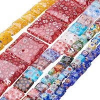 """Pandahall Elite 20 Strands Millefiori Lampwork Glass Beads Square Spacer Bead for Jewelry Making 15.5""""~17.3"""""""