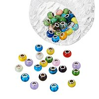 Arricraft 100PCS Mixed Styles Handmade Lampwork Glass European Beads with Brass Double Cores, Large Hole Rondelle Beads, Mixed Color