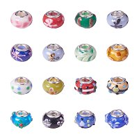 ARRICRAFT 100PCS Mixed Styles Handmade Lampwork Glass European Beads Large Hole Rondelle Beads with Brass Double Cores, Mixed Color