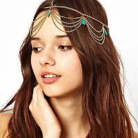 ARRICRAFT 1 Pcs Unique Turquoise Chain Jewelry Headband Party Headpiece Hair Band For Girls