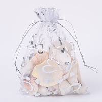 ARRICRAFT 100 PCS 5x7 Inches Heart Printed White Organza Bags Jewelry Pouch Bags Organza Velvet Drawstring Pouches Wedding Favors Candy Gift Bags