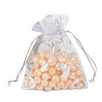 ARRICRAFT 100 PCS 2.7x3.5 Inches Heart Printed White Organza Bags Jewelry Pouch Bags Organza Velvet Drawstring Pouches Wedding Favors Candy Gift Bags