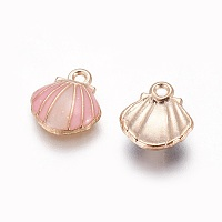 Alloy Enamel Charms, Shell, Light Gold, Pink, 12.5x11.5x3mm, Hole: 1.4mm