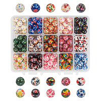 PandaHall Elite 1 Box (about 270 pcs) 15 Color 10mm Round Acrylic Resin Beads with Pattern for Jewelry Making