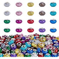 PH PandaHall 12 Color Resin European Beads 120pcs 5mm Large Hole Faceted Rondelle Beads for European Charm Beads Bracelet Necklace Jewelry Making