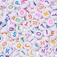 PandaHall Elite 7mm Cube Acrylic Letter Beads White Alphabet Beads with Colorful Letters for DIY Bracelets and Necklaces, about 1000pcs/bag