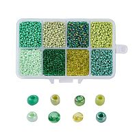 ARRICRAFT 1 Box About 8000pcs 12/0 Mixed Green Glass Seed Beads Diameter 2mm Round Loose Beads
