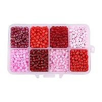 ARRICRAFT 1 Box About 1440pcs 6/0 4mm Mixed Red Round Glass Seed Beads