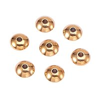 NBEADS 100 Pcs 8mm 304 Stainless Steel Smooth Flat Round Metal Spacer Beads Loose Beads for DIY Jewelry Making Findings
