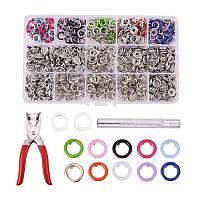 PandaHall Elite 200 Sets Snap Fasteners Kit Tool, 10 Colors 9.5mm Metal Snap Buttons Rings with Fastener Pliers Press Tool for Clothing and Sewing