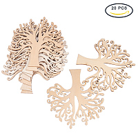 NBEADS 20pcs Blank Wooden Family Tree Embellishments for Wedding Christmas Ornaments and DIY Crafts, 4.9x4.9x0.12inch