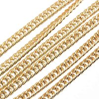 NBEADS 2m/2.18 Yards Light Gold Unwelded Aluminium Twisted Chains Jewelry Making Chains Necklace Link Cable Chain for DIY Jewelry Making
