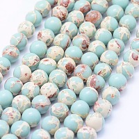 Synthetic Imperial Jasper Beads Strands, Round, Aquamarine, 8~8.5mm, Hole: 1mm; about 49pcs/strand, 15.7 inches(40cm)