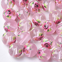 Arricraft Printed & Spray Painted Transparent Glass Beads, Round with Flower Pattern, Pink, 8~8.5x7.5mm, Hole: 1.4mm