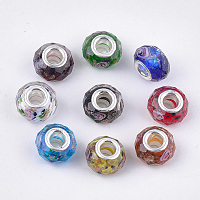 Arricraft Mixed Styles Handmade Lampwork European Beads, Large Hole Beads, with Platinum Color Brass Double Cores, Rondelle, Mixed Color, 14x11mm, Hole: 5mm
