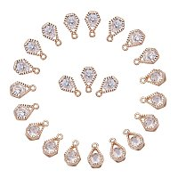 ARRICRAFT 1Bag About 100 Pcs Cubic Zirconia Alloy Charms Sets for Jewelry Making Size 13x8x5mm KC Gold