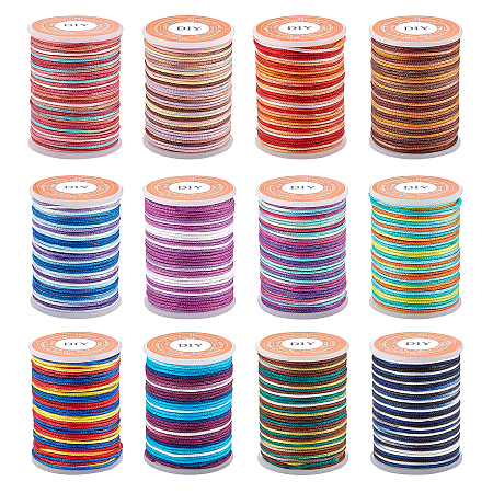 SUPERFINDINGS Segment Dyed Polyester Thread, Braided Cord, Mixed Color, 0.6mm; about 10m/roll, 12 colors, 1roll/color, 12rolls/set