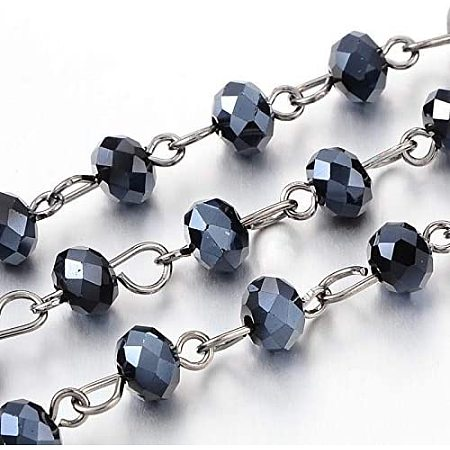 PandaHall Elite 5 Strands 3.3 Feet Faceted Crystal Glass Beads Chain with Gunmetal Eye Pin for Necklaces Bracelets Jewelry Making
