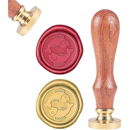 CRASPIRE Wax Seal Stamp, Sealing Wax Stamps Pisces Retro Wood Stamp Wax Seal 25mm Removable Brass Seal Wood Handle for Envelopes Invitations Wedding Embellishment Bottle Decoration Gift Packing