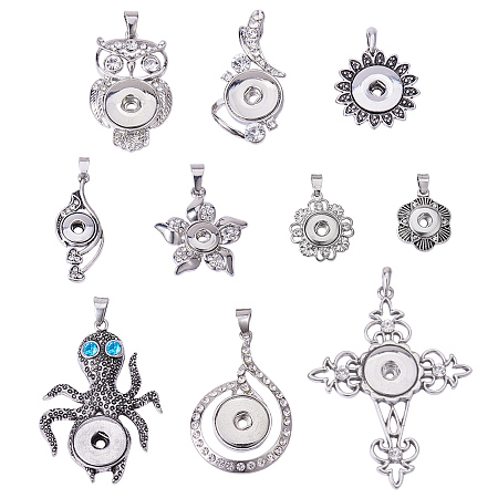 PandaHall Elite 10pcs Alloy Rhinestones Snaps Buttons Jewelry Charms for Snaps Jewelry Making Charms