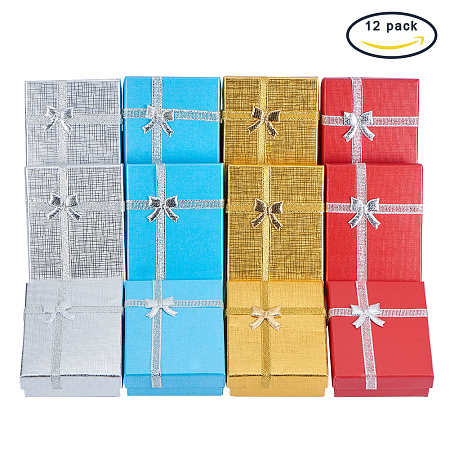 BENECREAT 12 Pack Gift Boxes Jewelry Display Box for Anniversaries, Weddings, Birthdays, 4 Assorted Color - 3.5x2.7x1 Inches