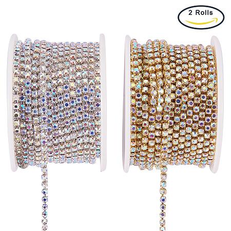 BENECREAT 2 Rolls 10 Yard 2.6mm Crystal Rhinestone Close Chain Clear Trimming Claw Chain Sewing Craft about 2740pcs Rhinestones - Crystal AB (Silver & Gold Bottom)