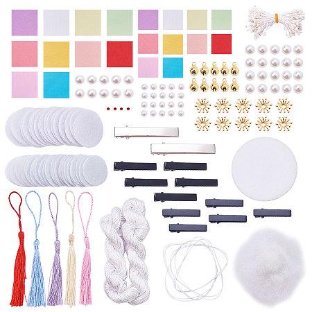 SUNNYCLUE Traditional Japanese Tsumami Hair Decorative Ornament Accessories Kits DIY Kanzashi Hair Clip Pins Making Craft For Women and Girl's Kimono Hanfu