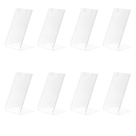 """Pandahall Elite 10pcs Single Pair Earring Holder L-Shape Jewelry Displays Marketing Holders Acrylic Necklace Stand for Jewelry Dangling Slant Back Display 1.3x1.7x3"""""""