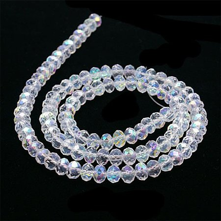 NBEADS 30 Strands AB Color Plated Faceted Abacus Clear Electroplate Glass Bead Strands with 4x3mm,Hole:1mm,About 149pcs/strand