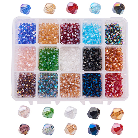 PandaHall Elite About 1800 Pcs 4mm Faceted Bicone Rondelle Glass Beads Briolette Crystal Czech Spacer Beads 15 AB Colors for Jewelry Making