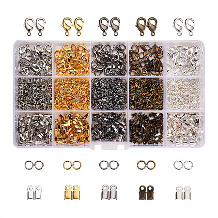 PandaHall Elite About 1800Pcs Multicolor Jewelry Finding Kits of Iron Cord Ends Brass Lobster Clasps and Jump Rings