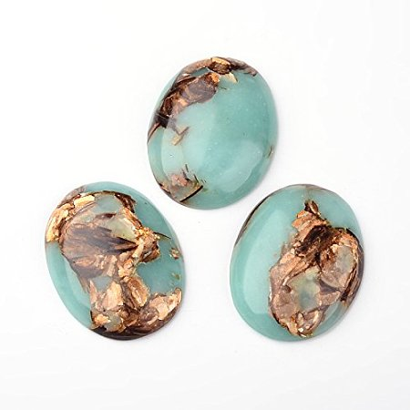 NBEADS 10pcs Colorful Gold Copper Cabochon Stone Oval Beads for Jewelry Making, 30mm Wide, 40mm Long, 7.5~8.5mm Thick.