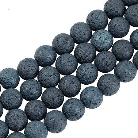 Pandahall Elite 390pcs 10mm Natural Lava Beads Dark Slate Gray Chakra Bead Strand Dyed Round Gemstone Loose Beads Energy Healing Beads for Jewelry Making