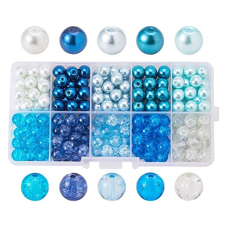 ARRICRAFT 8mm 250pcs Round Baking Painted Crackle Glass beads and Glass Pearl Beads 10 Color Assorted Lot For Jewelry Making