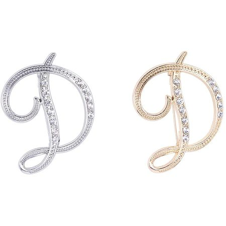 NBEADS 2 Pcs Alphabet D Alloy Brooches with Rhinestone Inlayed, Golden/Silver Metal English Letter Brooch Pins Crystal Initial Lapel Pin Brooches for Cloth Collar Decor Wedding Party Gifts