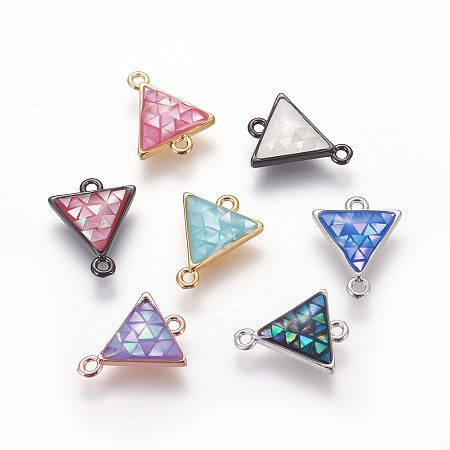 Brass Enamel Links connectors, with Freshwater Shell, Triangle, Mixed Color, 14.5x11.5x3mm, Hole: 1.2mm