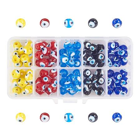 NBEADS 1 Box Round Evil Eye Handmade Glass Lampwork Beads Charms Spacer Beads for Bracelets Necklace Jewelry Making, About 10mm in Diameter, Hole: 1mm