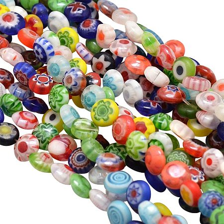 Pandahall Elite 10 Strands 6mm Millefiori Lampwork Glass Beads Flat Round Spacer Bead for Jewelry Making 15.9