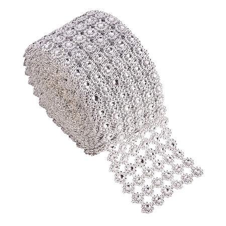 PandaHall Elite 10 Yards 3.7 Inch 6 Rows Rhinestone Crystal Ribbon Faux Diamond Ribbon Silver Flower Shape Mesh Wrap Roll for Wedding, Birthday, Craft Making