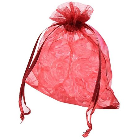NBEADS 200PCS Organza Bags for Mother's Day, Red, 12x10cm