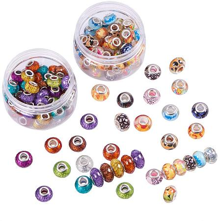 NBEADS 2 Boxes 100PCS 14mm Mixed Color Acrylic European Beads, Silver Tone Brass Double Cores Large Hole Rondell Charms Beads fit Snake Chain Bracelet Jewelry Making