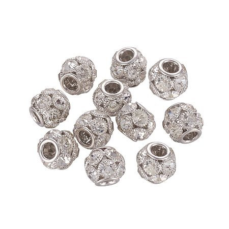 NBEADS 30 Pcs 12mm Platinum Grade A Rhinestone Pave Crystal Brass Beads European Charms Rondelle Beads fit Bracelet Jewelry Making